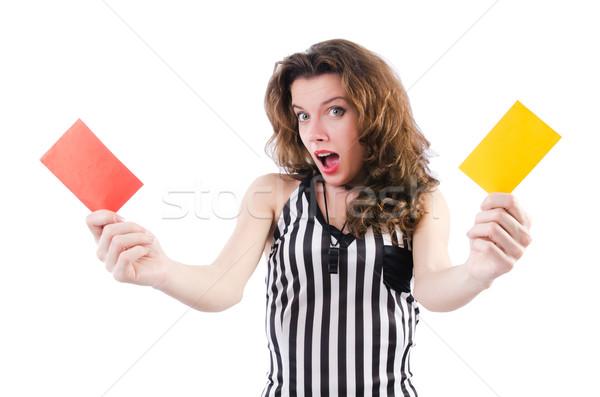 Mulher árbitro cartão branco mão esportes Foto stock © Elnur