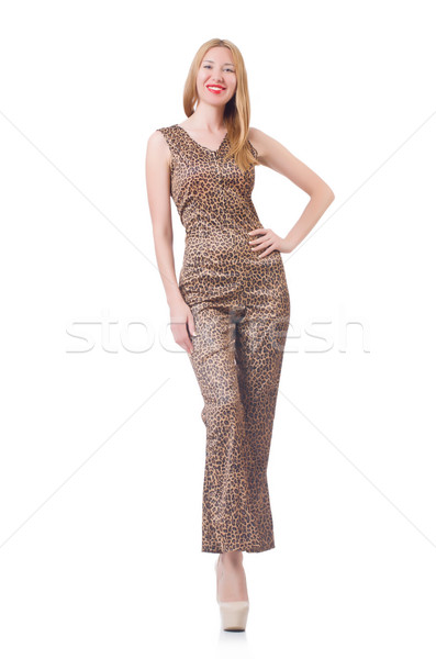 Female model in tiger clothing on white Stock photo © Elnur