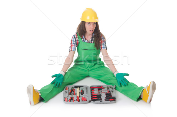 Young woman with toolkit on white Stock photo © Elnur