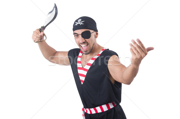 Stock photo: One eyed pirate isolated on the white