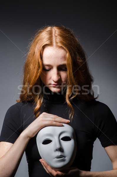 Vörös hajú nő nő maszk szürke öltöny portré Stock fotó © Elnur