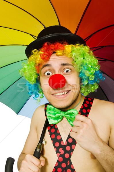 Clown paraplu geïsoleerd witte verjaardag regen Stockfoto © Elnur