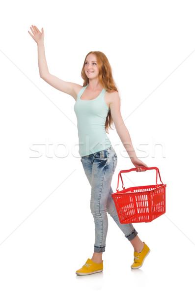 Mujer compras supermercado aislado blanco feliz Foto stock © Elnur