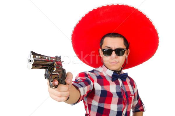 Komik Meksika geniş kenarlı şapka şapka el adam Stok fotoğraf © Elnur