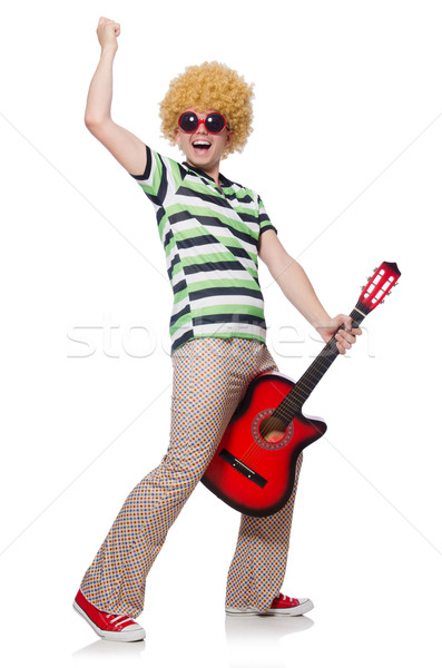 человека афро парик гитаре белый Сток-фото © Elnur