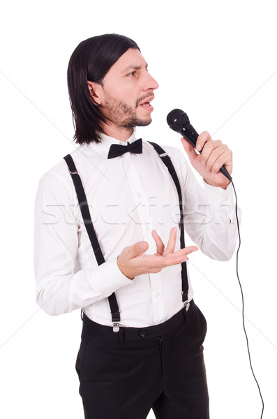 Stock photo: Funny man singing isolated on the white