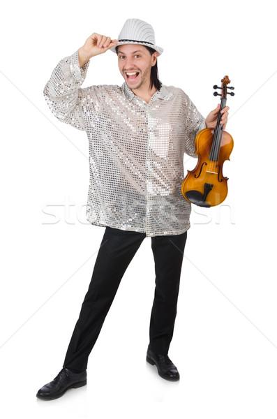 Vicces férfi hegedű fehér hang férfi Stock fotó © Elnur
