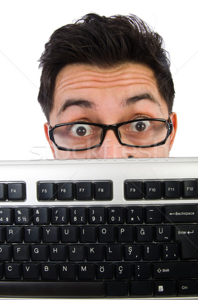 Computer nerd tastiera isolato bianco business Foto d'archivio © Elnur