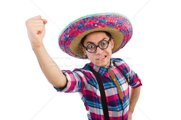 Stok fotoğraf: Komik · Meksika · geniş · kenarlı · şapka · mutlu · Retro · beyaz