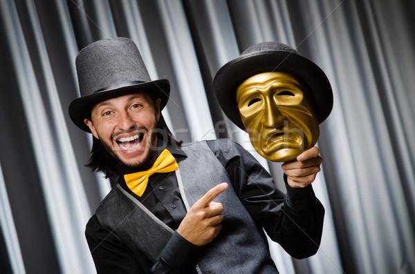 Vicces színpadi maszk háttér biztonság üzletember Stock fotó © Elnur
