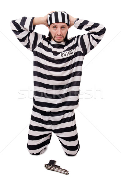 Prison inmate with gun isolated on white Stock photo © Elnur