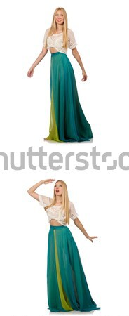 Woman dances in gentle blue dress isolated on white Stock photo © Elnur