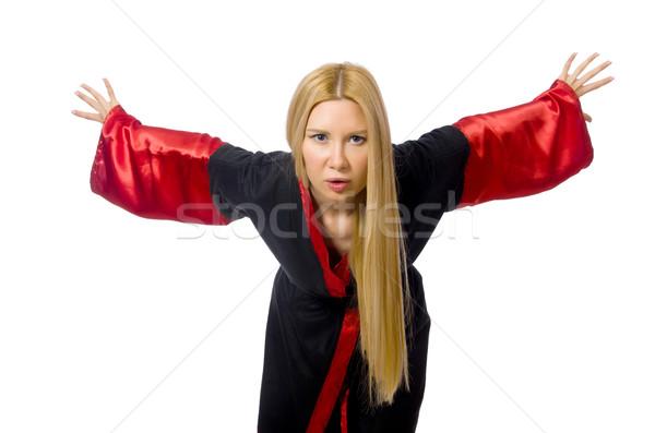 Női bűvész izolált fehér lány haj Stock fotó © Elnur