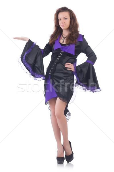 Stock fotó: Lány · visel · ibolya · fekete · ruha · izolált · fehér