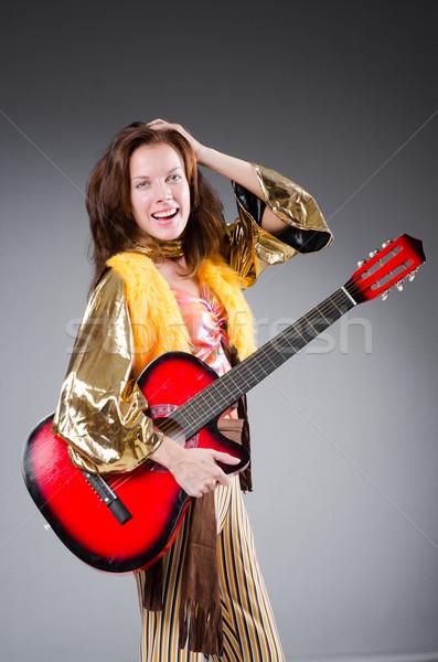 Guitarrista vermelho instrumento música festa fundo Foto stock © Elnur