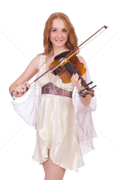 древних богиня скрипки изолированный белый женщину Сток-фото © Elnur