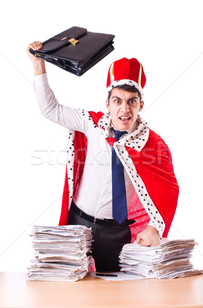 King businessman with lots of paperwork Stock photo © Elnur