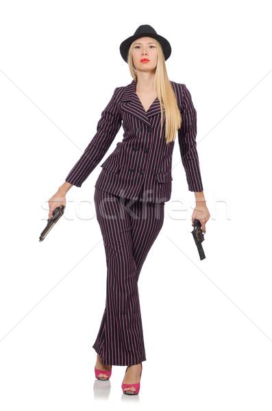 Kadın gangster tabanca bağbozumu seksi model Stok fotoğraf © Elnur