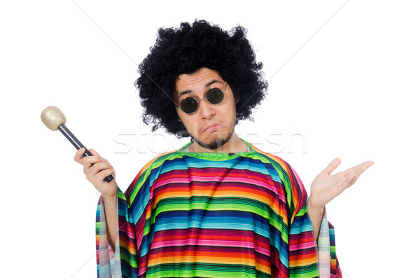 Funny mexican wearing poncho with maracas isolated on white Stock photo © Elnur