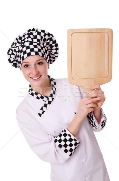 Női szakács izolált fehér nő boldog Stock fotó © Elnur