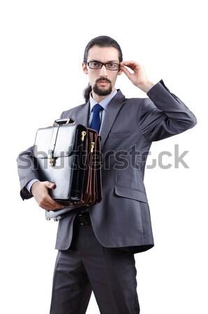 Jovem empresário machado isolado branco trabalhar Foto stock © Elnur