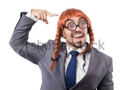 смешные бизнесмен топор белый бизнеса лице Сток-фото © Elnur