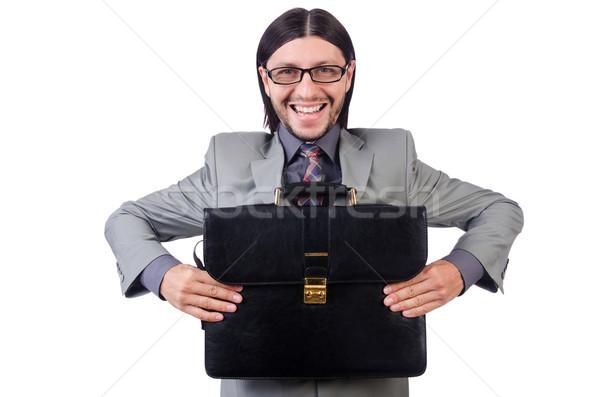Genç işadamı gri takım elbise evrak çantası Stok fotoğraf © Elnur
