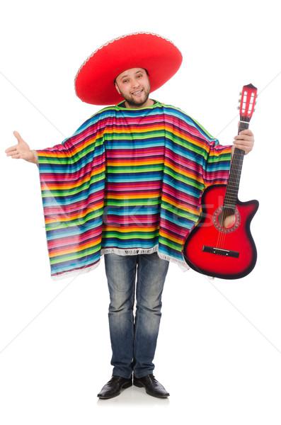 Stock fotó: Vicces · mexikói · gitár · izolált · fehér · férfi