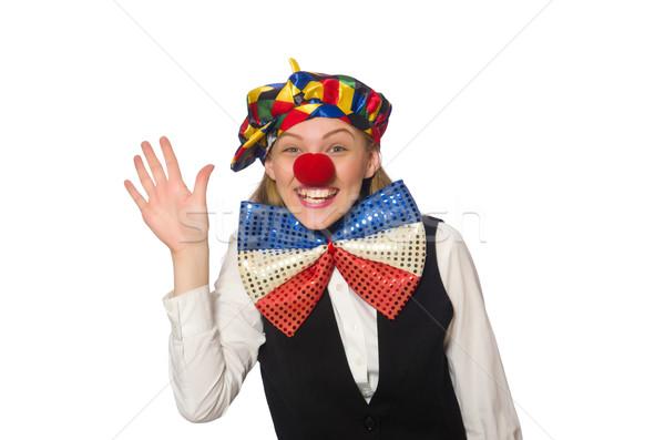 Pretty female clown isolated on white Stock photo © Elnur