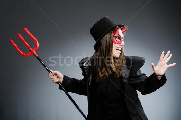 Vicces ördög halloween lány buli szexi Stock fotó © Elnur