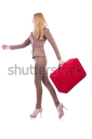 Blondie in red dress with suitcase isolated on white Stock photo © Elnur