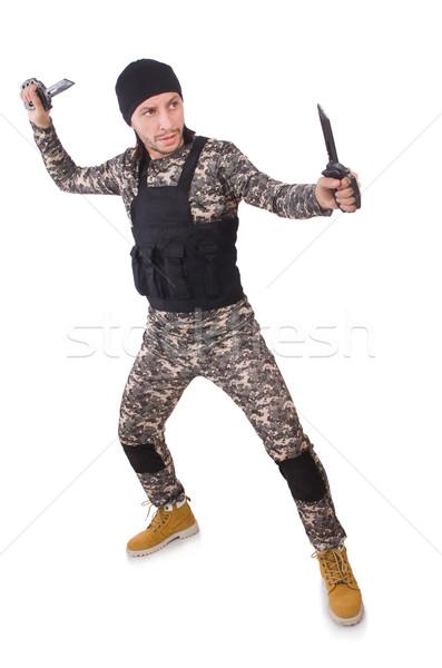 ストックフォト: 若い男 · 軍服 · 孤立した · 白 · 男 · 緑