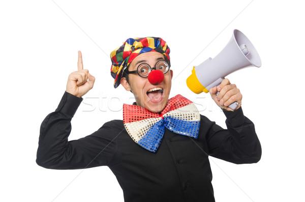 Clown luidspreker geïsoleerd witte man Blauw Stockfoto © Elnur