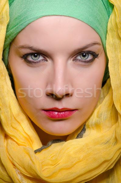 Komoly nő visel színes fejkendő divat Stock fotó © Elnur