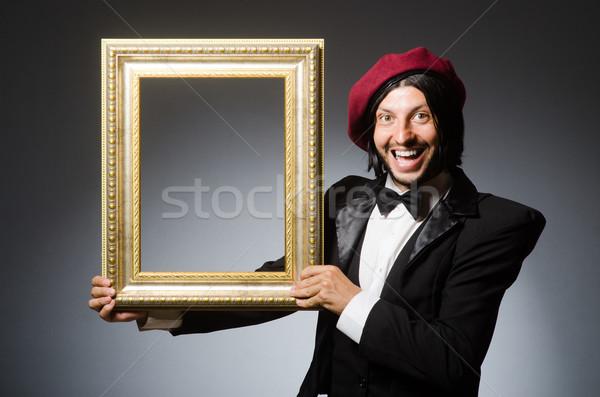 Funny artist working in the studio Stock photo © Elnur