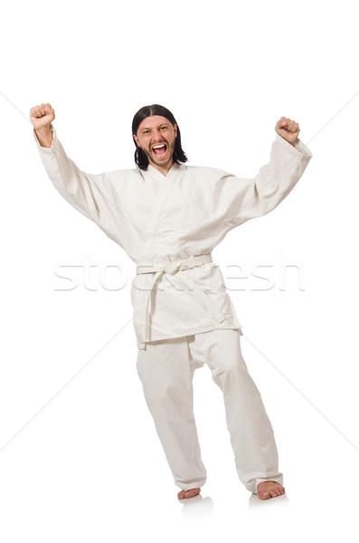 Karate vadászrepülő izolált fehér férfi doboz Stock fotó © Elnur