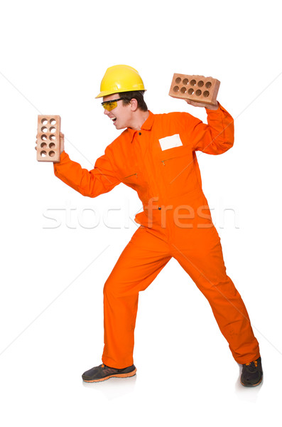 Stock photo: Man in orange coveralls isolated on white