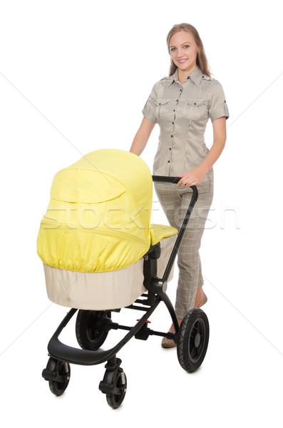 Kobieta wózki dla dzieci odizolowany biały rodziny dziewczyna Zdjęcia stock © Elnur