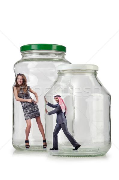 Mensen gevangen glas jar lichaam zakenman Stockfoto © Elnur