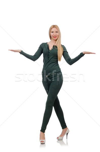 Pretty woman in green clothing isolated on white Stock photo © Elnur