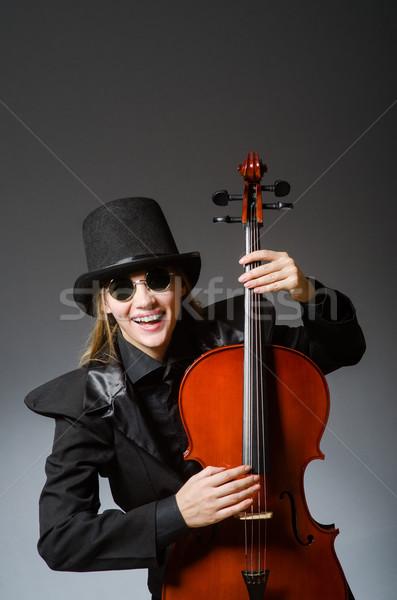 Fiatal nő musical nő fa művészet koncert Stock fotó © Elnur