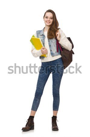 Pretty student holding textbooks isolated on white Stock photo © Elnur