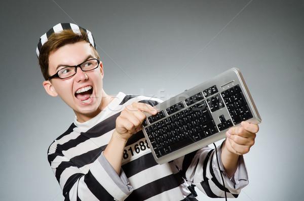 面白い 囚人 刑務所 コンピュータ キーボード ボール ストックフォト © Elnur