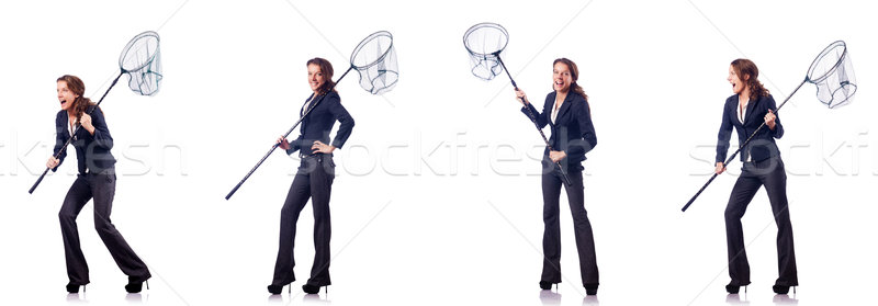 Woman with catching net and papers Stock photo © Elnur