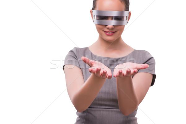 Futuristische techno vrouw geïsoleerd witte handen Stockfoto © Elnur