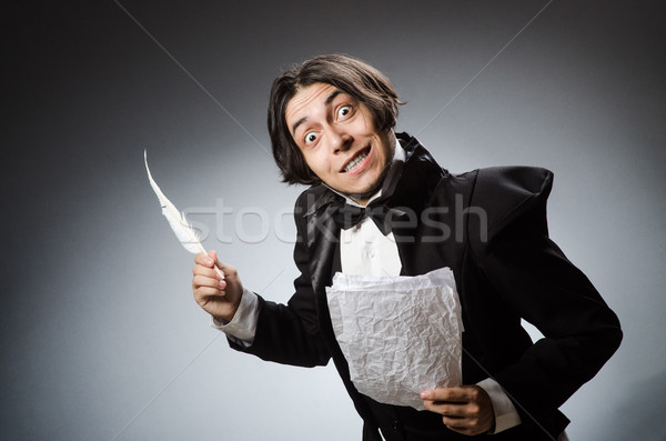 The funny writer with quill in vintage concept Stock photo © Elnur