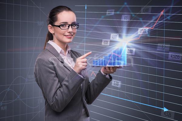 Geschäftsfrau hat Handel Frau Geld Arbeit Stock foto © Elnur