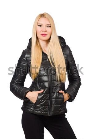 Caucasian woman wearing black jacket isolated on white Stock photo © Elnur