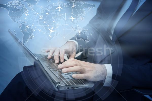 Online előre bejelentkezés laptop számítógép internet billentyűzet Stock fotó © Elnur