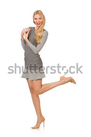 Blond hair woman posing in blue jeans isolated on white Stock photo © Elnur